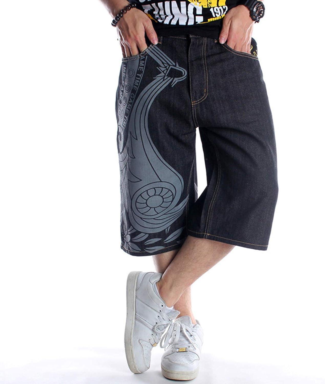 WEHOMEO Men's Denim Shorts Hip-Hop Cropped Jeans, Plus Size,Black,3XL
