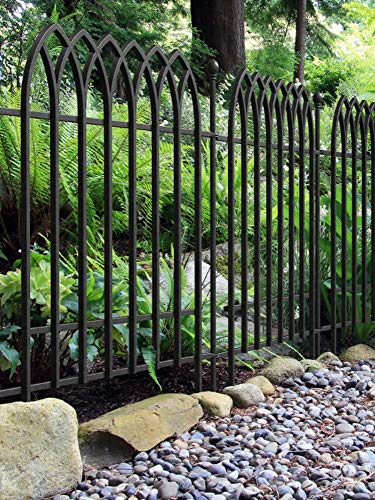 Panacea Products Fence Panel Section | Decorative Outdoor Garden Fencing Border Edging | Powder Coated Steel | Wrought Iron Style (Gothic Fence Section)