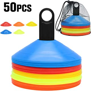 Kxuhivc Soccer Cones for Kids Training with Carry Bag and Holder Football Sports Field Cone Markers Highly Visible Multicolor Cones Outdoor Agility Training Round Mark Disc(Set of 50)
