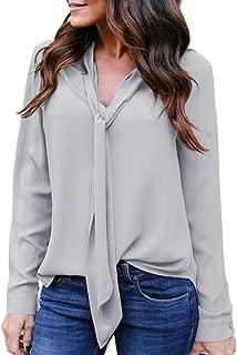 Womens Solid Long Sleeve V-Neck Fancy Tie Chiffon Office Shirt Elegant Tops