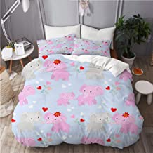 Mokale Duvet Cover Double Size,Valentines Day Cute Cartoon Elephants Heart,3 Piece Bedding Set with 2 Pillowcases(Doona Co...
