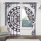 Sophia-Art - Cortina de mandala con diseño de elefante bohemio, incluye 2 piezas de cortina de mandala, cortinas, cortinas y cenefas, cortina vintage para tratamiento de ventanas