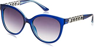 Guess 19307211 Oval Sunglasses GU7570E Shiny Blue/Gradient Smoke