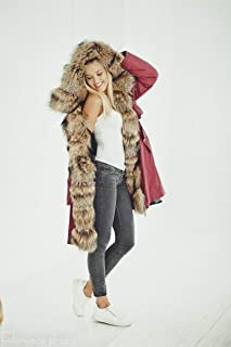 Women's Parka Jacket Real Fur Hooded Coat