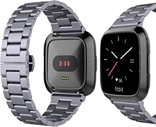 UMTELE for Fitbit Versa Band, Slim Stainless Steel Band Low Profile Metal Strap with Butterfly Clasp [Scratch Resistant Case Included] for Fitbit Versa
