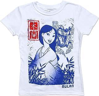 Disney unisex-child MULAN BLOCK PRINT Disney Girl's Mulan Flower Blossom T-Shirt
