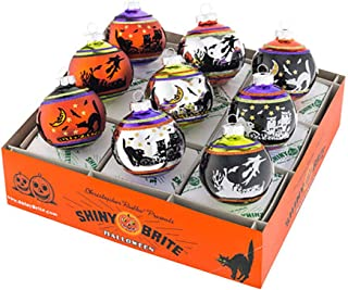 Shiny Brite Halloween Signature Flocked Ornaments - Set of Nine