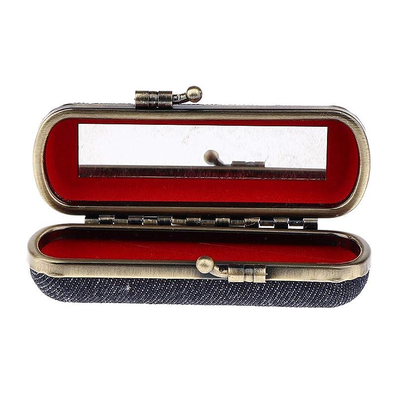 T TOOYFUL 全4色選択 口紅収納ケース ホルダー ボックス 口紅ケース ミラー付き 携帯用 - ブラックブルー