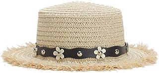 JHKSO Women Beautifully Flower Belt Straw Hats Women Summer Beach Cap Flat Hats Wide Brim Tea Party Sunhats Straw