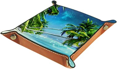 Palm Tree Sea Landscape Valet Tray Storage Organizer Box Coin Tray Key Tray Nightstand Desk Microfiber Leather Pouch,16x16cm