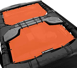 Shadeidea Jeep Wrangler Sun Shade JK Unlimited 4 Door-Orange Mesh Screen Sunshade JKU Top Cover UV Blocker with Grab Bag-One time Install 10 years Warranty