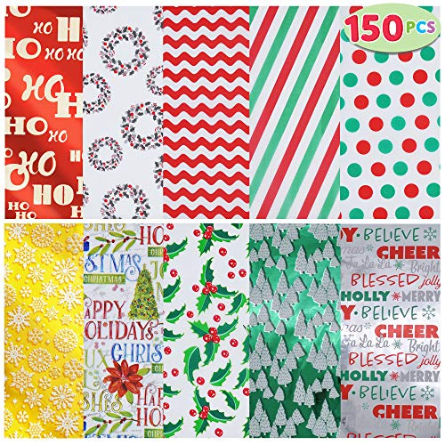 JOYIN Holiday Tissue Paper Assortment (Ten Colors), 150-Piece Set Christmas Design Solid, Holiday Holographic and Printed Gift Tissue Paper Assortment (20' x 20' inches)