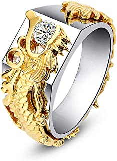COODIO Unisex Stylish Vintage Dragon Pattern Ring Exaggeration Finger Ring for Fashion Jewelry