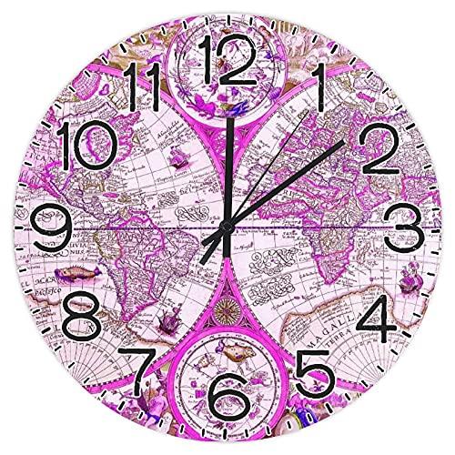 Vintage Maps - Reloj de pared redondo de madera de 30,5 cm, reloj rústico para el día del padre, día de la independencia, hogar, cocina, dormitorio, baño, oficina, sala de estar, comedor.
