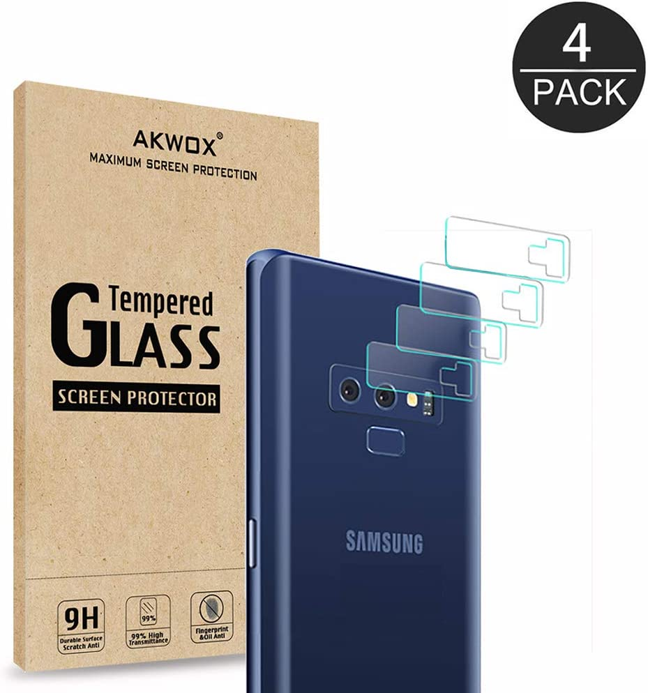 (4 Pack) AKWOX Compatible Note 9 Camera Lens Protector, Ultra Thin 0.2mm 9H Hard Tempered Glass Camera Lens Protector for Samsung Galaxy Note 9, Anti-Scratch,Dustproof,High Transmittance