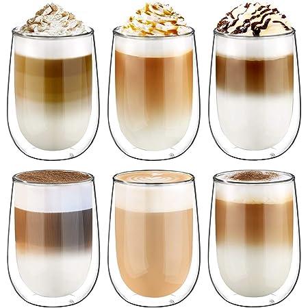 Glastal 6x350ml Verre à Double Paroi pour la Bièr,Tasse en Verre Transparent,Tasses à Latte Macchiato en Verre,Verre à Café/Thé
