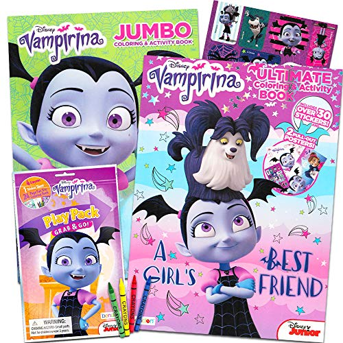 Disney Vampirina libro para colorear Super Set - 2 libros para colorear, carteles y pegatinas de vampirina (suministros para fiesta de vampirina)