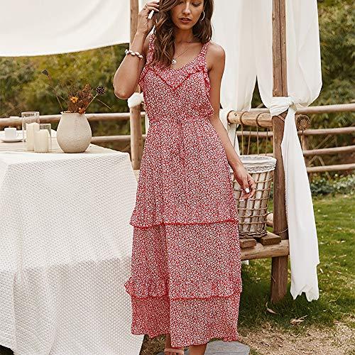 JIAGU Floral Atractiva de Cuello en V Vestido de Las Mujeres Midi Tirantes Falda del Verano Vestido de Mujer (Color : Red, Size : XL)