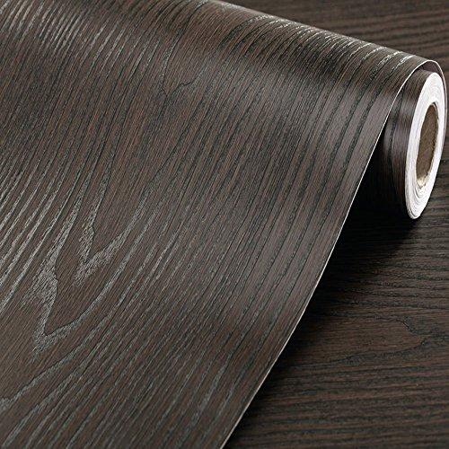 厚手の防水壁紙シール 木目簡単 はがせる 壁紙 シール 木目 賃貸で出来る DIY特集付61cm×3m (木目調 黒)