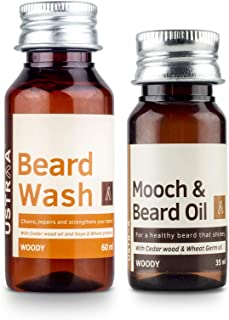 Ustraa By Happily Unmarried Woody Mooch Oil and Beard Wash - Set of 2