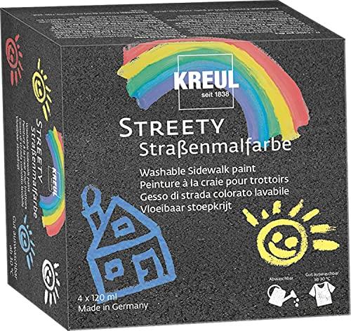 Kreul 43100 - Streety Straßenmalfarbe Set, 4 Farben mit je 120 ml, abwaschbare Flüssigkreide zum Malen mit Pinsel oder Roller, flüssige Straßenmalkreide, vegan, dermatologisch getestet, auswaschbar