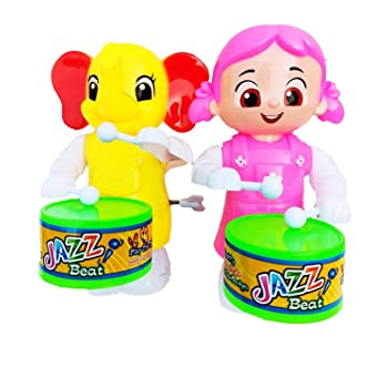AK Store Toys Funny Key-Operated Cute Doll Girl and Elephant Drummer Toy with Drumming and Dancing Action for Kids (Multicolor, Pack of 2)