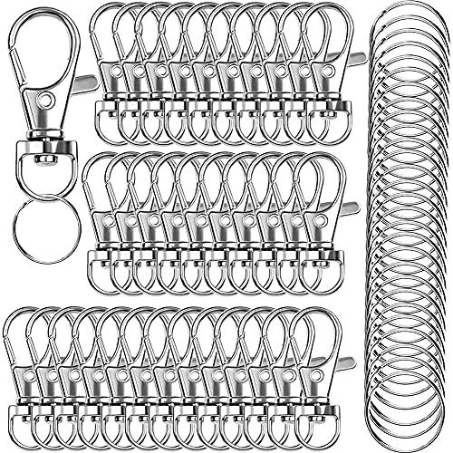 120PCS Premium Swivel Lanyard Snap Hook with Key Rings, Metal Hooks Keychain Hooks for Lanyard Key Rings Crafting