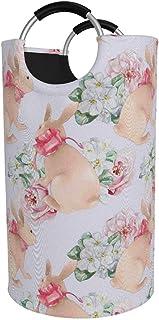 N\A Grand Panier à Linge, Sac à vêtements Rose avec nœud et Fleurs, Panier Pliable en Tissu 82L, bacs de Lavage pliants av...