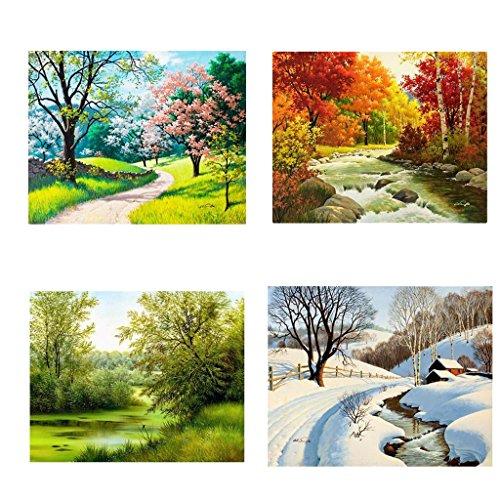 4 Stück 5D Bild Diamantbild Strass Bild Kreuzstich Stickerei Malerei Deko Kreuzstich Wanddekoration, Jahreszeiten, 30 x 25 cm