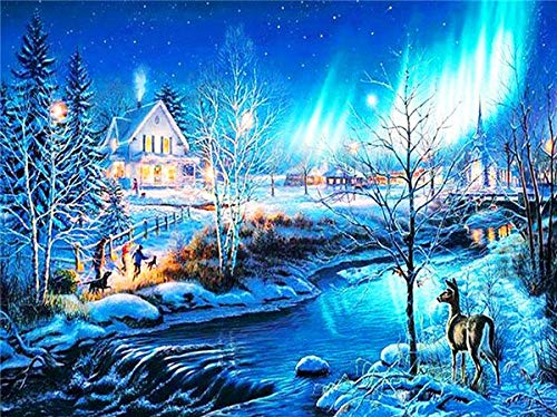 CDNY Navidad Paisaje de invierno-5D DIY Pintura Diamante-de Cristal, Bordado de Punto de Cruz, Lienzo-para Adultos Niños Decoración de la pared40x50cm