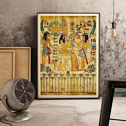 ZLARGEW Cuadro de Pared de Paisaje Egipcio Retro para Sala de Estar Pintura Religiosa Lienzo Arte póster e Impresiones decoración del hogar Obra de Arte - 50x70cm sin Marco