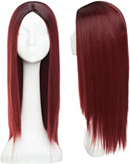 Fashion Long Straight Ombre Black To Wine Red Hair Wig No Bangs Heat Resistant Synthetic Fibers Anime Cosplay Party Costume Natural Full Wig Middle Part Hairline For Women 24