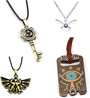 DoubleChin 4 Pc Zelda Necklaces - Navi Charm, Skeleton Key, Sheikah Slate, Hylian Crest