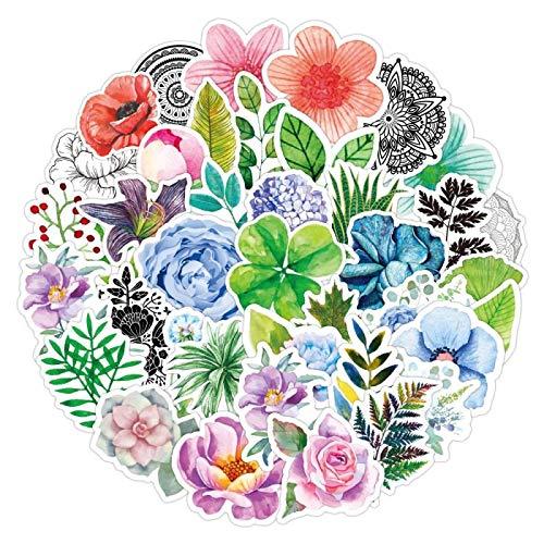 YMSD Dibujos animados flores portátil carro caso pegatinas decorativas impermeable teléfono móvil shell DIY guitarra pegatinas niña corazón 50 unids