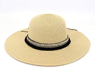 Beach Hat New Year Summer Hat Girl Jazz Folding Visor Classic Toquilla Straw Panama Hat Dome` TuanTuan (Color : Khaki, Size : 56-58CM)
