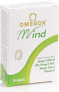OMEGOR® Mind | Complemento alimenticio para la memoria y funciones congnitivas. Con Omega 3 DHA y extracto de Bacopa Monnieri, aceite de borraja, zinc y vitaminas B Destilación molecular, forma TG | 30 cps