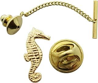 Seahorse Tie Tack ~ 24K Gold ~ Tie Tack or Pin ~ Sarah's Treats & Treasures