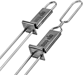 Premium Barbecue Skewers - Double Pronged, Quick Release Stainless Steel - Shish Kabob, Shrimp, Meat Chicken, Veggies & More – By BBQ - Aid (6 Pack)