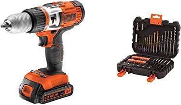 Black & Decker EGBHP188K-QW - Taladro sin cable percutor (454 W, 18 V) + Black & Decker A7188-XJ - Brocas