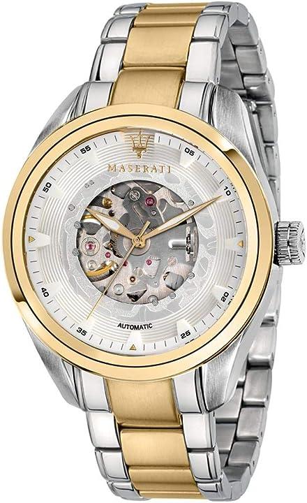 Orologio maserati da uomo, collezione traguardo, automatico, solo tempo, 3h - r8823112003 8033288880011
