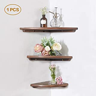 """INMAN Wooden Corner Shelf, 1 Pcs Round End Hanging Wall Mount Floating Shelves Storage Shelving Table Bookshelf Drawers Display Racks Bedroom Office Home Décor Accents (Walnut, 10"""")"""