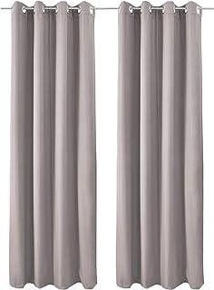 comprar comparacion Beautissu Set de 2 Cortinas térmicas Amelie TO 140x245 cm de Ojales Privacidad y oscurecentes Aislante Gris