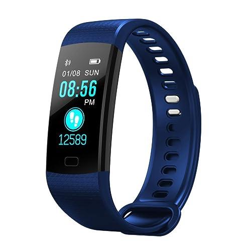 Ouneed Montre Connectée Android & IOS Sport Montre Cardiaque BT4.0 Crops Podomètre Alarme Santé Tracker Montre Moniteur Bracelet (Bleu)