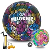 Soccer Ball Holographic Glowing Soccer Ball Size 4 with Pump, MILACHIC Light up Reflective Soccer Ball Gifts for Kids Indoor Outdoor Use