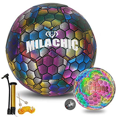 Soccer Ball Holographic Glowing Soccer Ball Size 4 with Pump Mesh Bag, MILACHIC Light up Reflective Soccer Ball Gifts for Kids Indoor Outdoor Use