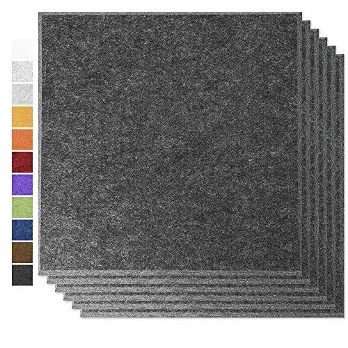 """BUBOS Akustikplatten, Schallabsorptionsplatte, Schallschutzpolsterung, geeignet für Akustikbehandlung und Geräuschreduzierung, abgeschrägte Kante, 6 Stück, 12""""x 12"""" x 0,4"""" Sesam Schwarz"""