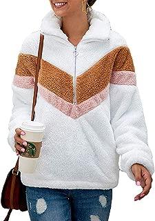 Women's Warm Long Sleeve Lapel Zipper Color-Block Striped Fuzzy Fleece Pullover Sherpa Sweatshirt Coat