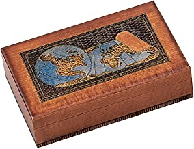 WORLD MAP BOX w/ Detailed World Globe Motif, Handmade Linden Wood Keepsake Jewelry Treasure Collector Box, Desktop Office Home Wooden Box, Desk Accessory, Unique Masterpiece, Great Gift Idea f/ Business, Co-Workers, Family or Friend, Made in Poland
