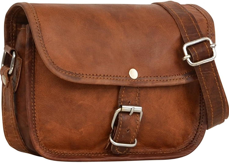 Genuine Leather Shoulder Sling Bag for Women Small handbag Vintage Unisex Brown Crossbody Bags