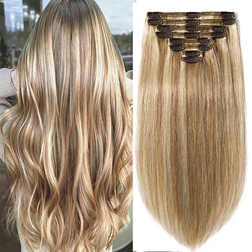 Extension Capelli Veri Clip Double Weft 8 Fasce Remy Human Hair XXL Full Head Set Lisci Lunga 35cm Pesa 120g, 12 Marrone Chiaro mix #613 Biondo Chiarissimo
